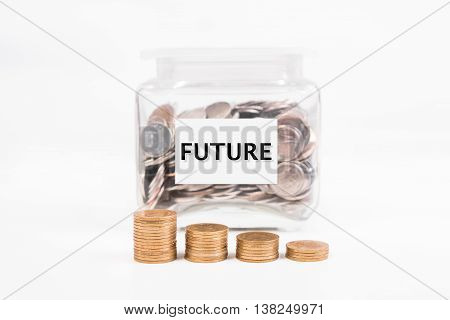 piggy bank pile gold coin with word text Future on paper in glass piggy bank.(business bank and finance concept)
