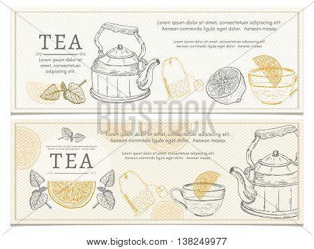 Tea banners lemon kettle tea party ceremony vintage vector illustration