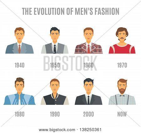 Men Fashion Icons Set. Fashion Evolution Avatar Vector Illustration. Man Fashion Evolution Decorative Set.  Fashion Evolution Design Set. Fashion Evolution Flat Isolated Set.