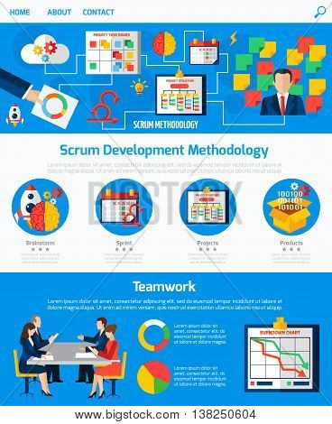 Scrum agile development methodology website one page design with process flowchart and teamwork concept abstract vector illustration