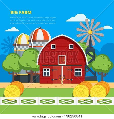 Big farm flat colorful composition with wooden village house haystacks elevator wind turbine vector illustration
