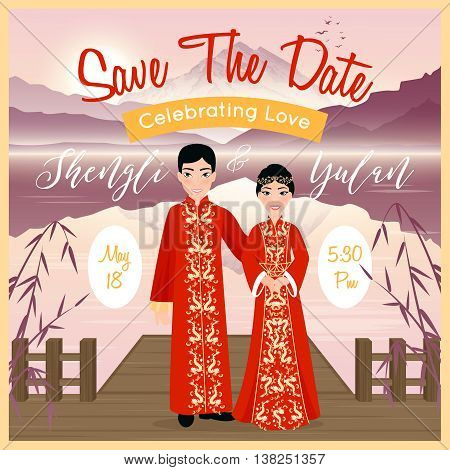 Chinese wedding couple invitation poster on background with beautiful landscape flat vector illustration