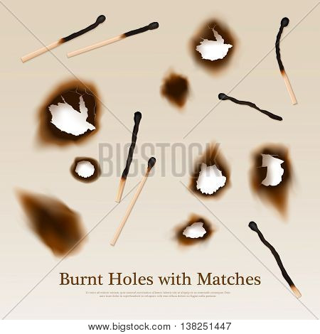 Paper with set of burnt holes and matches abstract vintage background in realistic style vector illustration