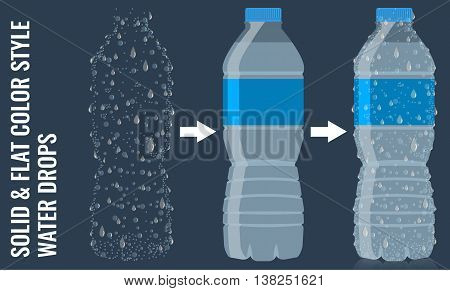 Bottle of water icon in flat style with transparency effect material. Surface with realistic water drops and condensation effect. Vector illustration