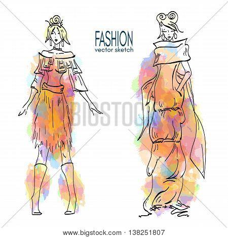 Fashion models vector fashion illustration vector fashion woman