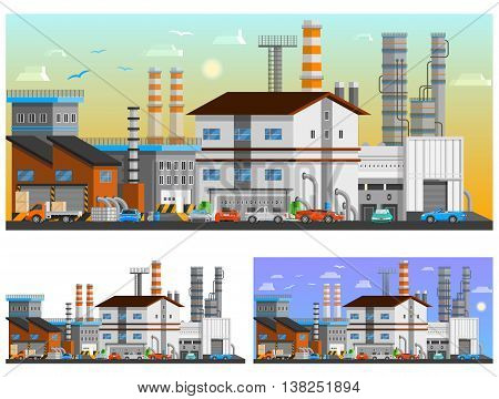 Industrial buildings in the city orthogonal compositions set flat isolated vector illustration