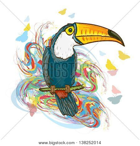 Toucan sitting on branch. Exotic tropical bird jungle vector illustration