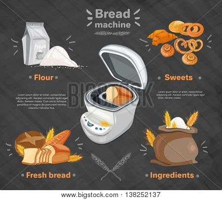 Bakery products bread machine fresh bread rolls bag of flour vector