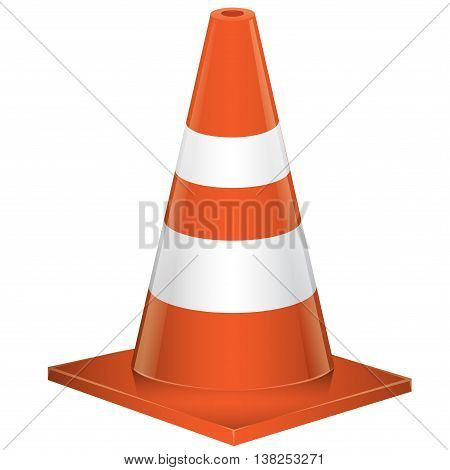 Traffic cone on white background vector illustration.