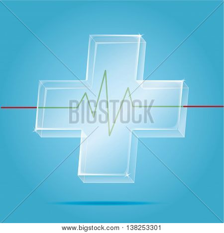 Vector: Transparency First Aid Icon With Heart Pulse Graph On Blue Background,health Care Save Your