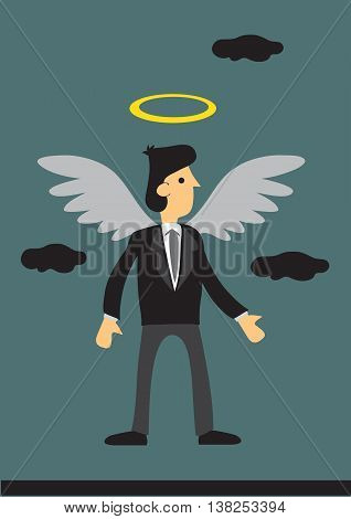 Cartoon businessman with wings and halo. Vector illustration on business angel investor concept.