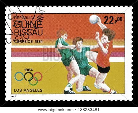 GUINEA BISSAU - CIRCA 1984 : Cancelled postage stamp printed by Guinea Bissau, that shows Handball.