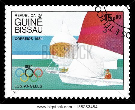 GUINEA BISSAU - CIRCA 1984 : Cancelled postage stamp printed by Guinea Bissau, that shows Sailing.