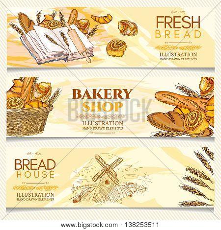 Bakery banner fresh bread bakery shop bakery basket hand drawn vector illustration