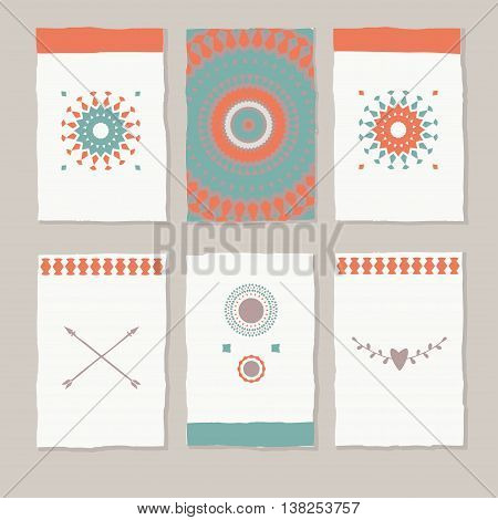 set of ethnic tag cards, vector decorative cards and labels in tribal style
