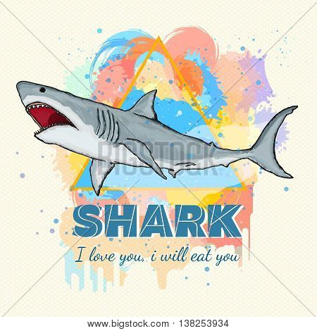 Shark on a colored background tattoo art great white shark template for printing on t-shirts vector illustration