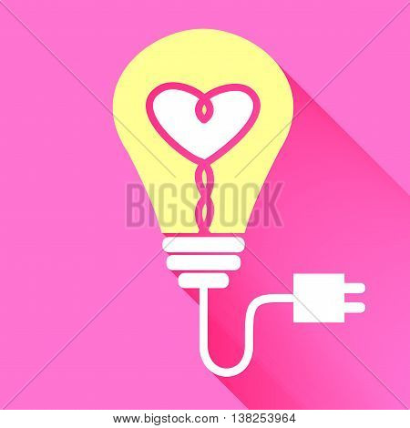 Vector : Lightbulb With Heart Icon Inside On Red Background,brighten Your Love,valentine Concept