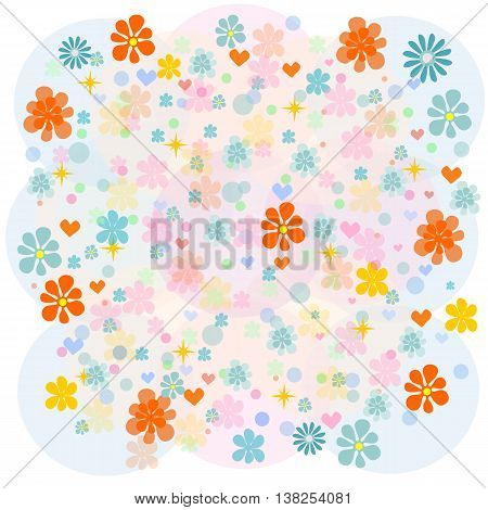 background with multicolored flowers. Stock vector illustration