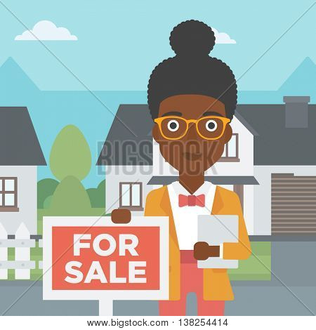 An african-american real estate agent offering the house. Female broker with placard for sale and documents in hands standing in front of the house. Vector flat design illustration. Square layout.
