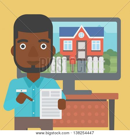 An african-american man standing in front of tv screen with house photo on it and pointing at a real estate contract. Vector flat design illustration. Square layout.