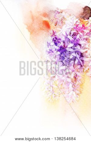 Abstract watercolor illustration of blossom purple wreath. Watercolor painting. Floral watercolor illustration.