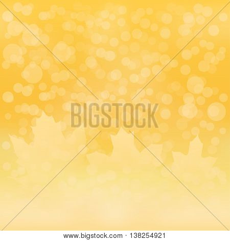 Blurred yellow fall leaves background with bokeh vector illustration