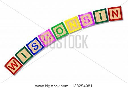 A collection of wooden block letters spelling Wisconsin over a white background
