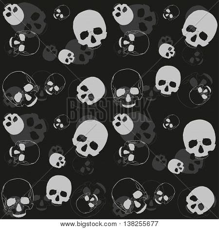 Skull - black and grey pattern. Vector dark horror textile background.