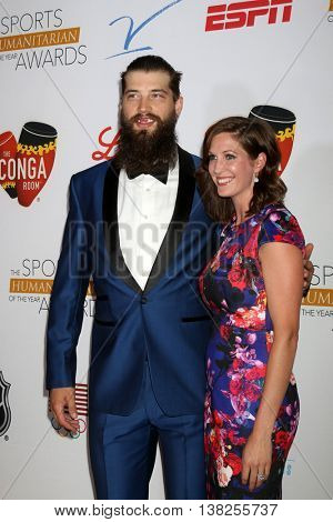 LOS ANGELES - JUL 12:  Brent Burns, Susan Holder at the 2nd Annual Sports Humanitarian Of The Year Awards at the Congo Room on July 12, 2016 in Los Angeles, CA