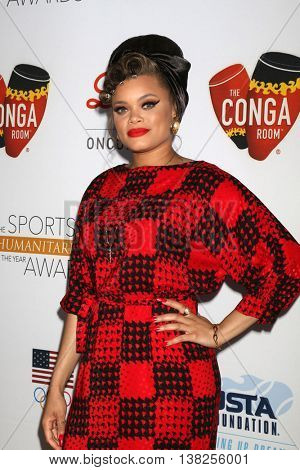 LOS ANGELES - JUL 12:  Andra Day at the 2nd Annual Sports Humanitarian Of The Year Awards at the Congo Room on July 12, 2016 in Los Angeles, CA