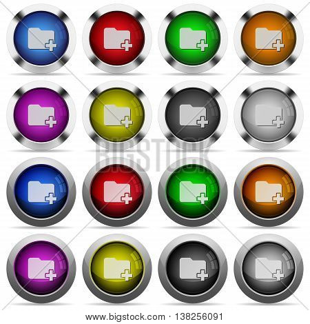Set of Add new folder glossy web buttons. Arranged layer structure.