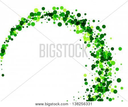 White paper background with whirl of green drops. Vector illustration.