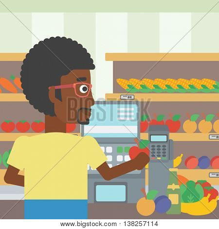 An african-american young male cashier standing at the checkout in supermarket. Male cashier working at checkout in supermarket. Vector flat design illustration. Square layout.