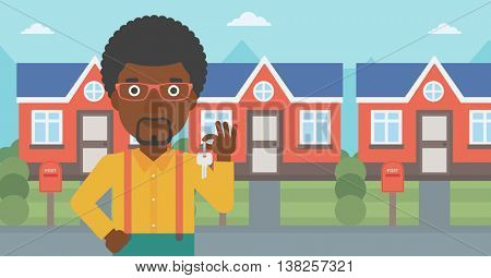 Young male real estate agent holding key. An african-american man with keys standing in front of the house. Happy new owner of a house. Vector flat design illustration. Horizontal layout.