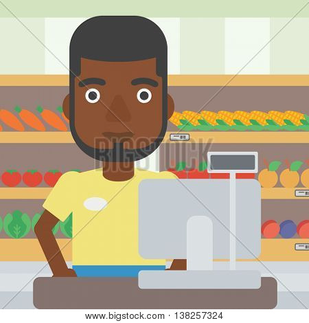 An african-american young cashier standing at the checkout in supermarket. Male cashier working at checkout in supermarket. Vector flat design illustration. Square layout.