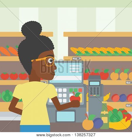An african-american young female cashier standing at the checkout at the supermarket. Female cashier working at checkout at the supermarket. Vector flat design illustration. Square layout.