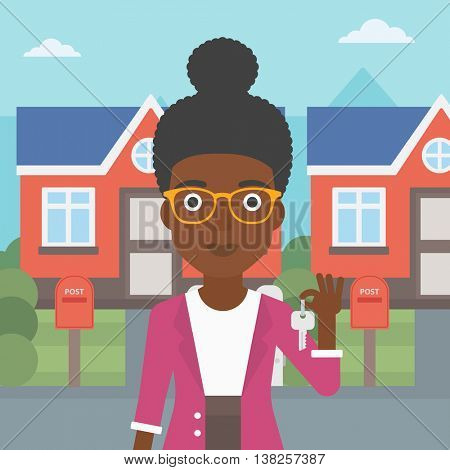 Young female real estate agent holding key. An african-american woman with keys standing in front of the house. Happy new owner of a house. Vector flat design illustration. Square layout.