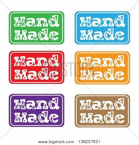 Set of six colored stamps with the text hand made written on each stamp
