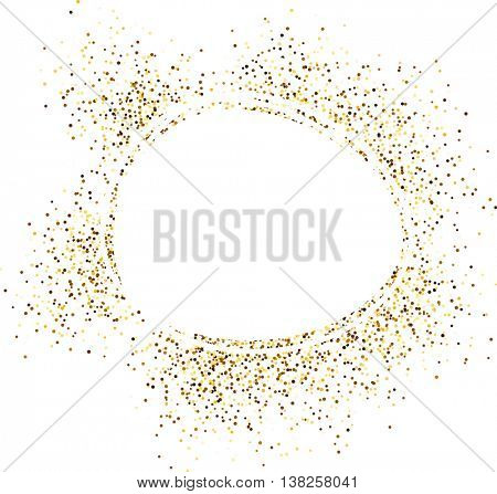White round background with sand. Vector paper illustration.