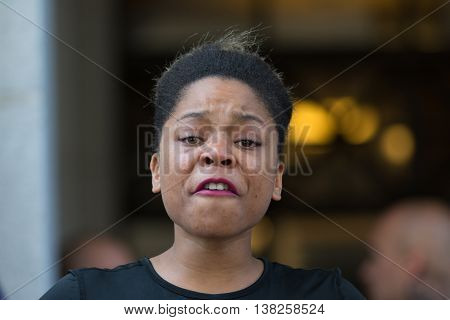 Black Lives Matter Protestor Crying During March On City Hall