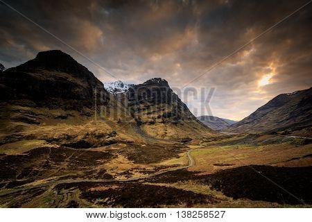 A beautiful view of Glencoe sunset Scotland UK.