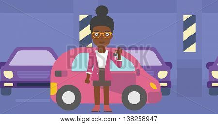 An african-american woman holding keys to her new car. Happy young woman showing key to her new car on the background of car shop. Woman buying car. Vector flat design illustration. Horizontal layout.