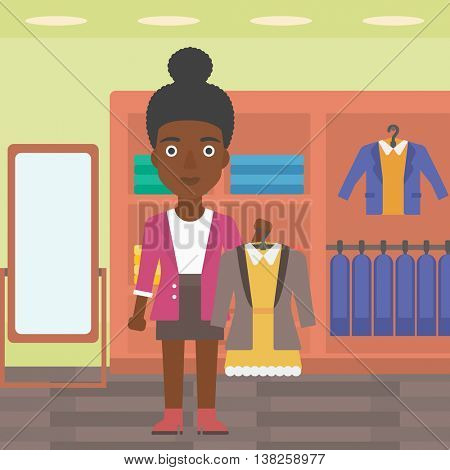 An african-american woman holding hanger with dress and jacket. Woman choosing dress at clothing store. Shop assistant offering suit jacket and dress. Vector flat design illustration. Square layout.