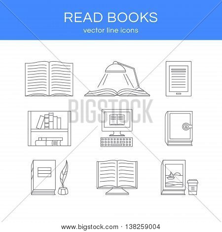 Set of books. Set of vector line icons with open book e-book book and coffee bookshelf and library. Illustration of reading books and education. Design elements for logos.