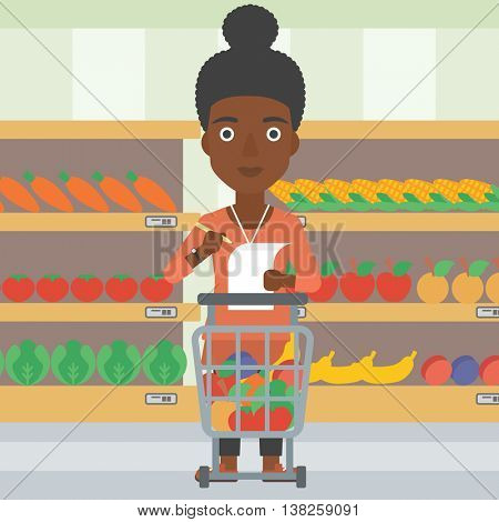 An african-american thoughtful woman standing at the supermarket with supermarket trolley full with products and holding a shopping list in hands. Vector flat design illustration. Square layout.
