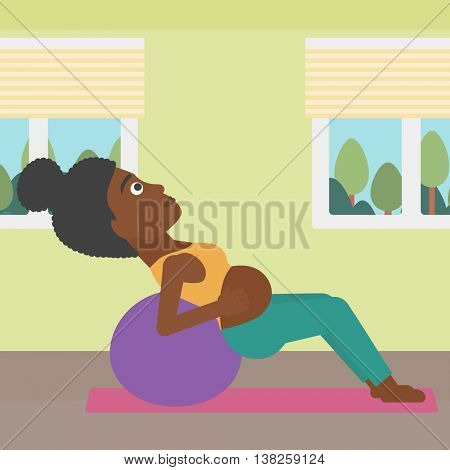 An african-american pregnant woman doing exercises with ball indoor. Young pregnant woman doing exercises lying on fitball. Vector flat design illustration. Square layout.