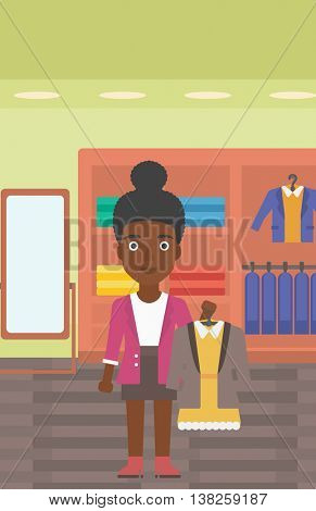 An african-american woman holding hanger with dress and jacket. Woman choosing dress at clothing store. Shop assistant offering suit jacket and dress. Vector flat design illustration. Vertical layout.