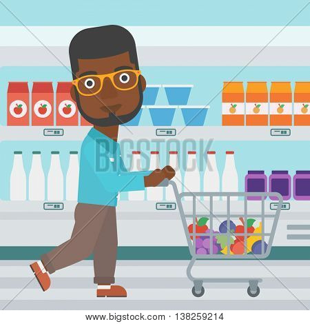 An african-american young man pushing a supermarket cart with some goods in it. Customer shopping at supermarket with cart. Vector flat design illustration. Square layout.