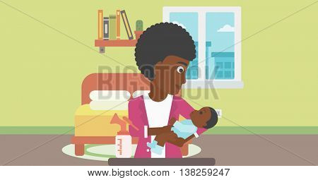 An african-american mother holding a newborn baby in hands and a breast pump standing on the table in front of her. Young mother feeding her baby. Vector flat design illustration. Horizontal layout.