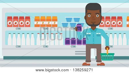 An african-american young man holding shopping basket in one hand and milk product in the other. Male customer shopping at supermarket with basket. Vector flat design illustration. Horizontal layout.